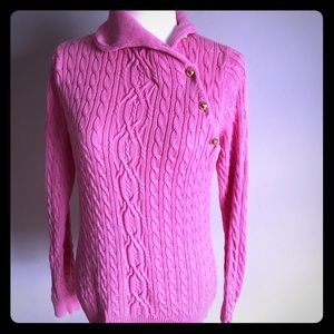 Lilly Pulitzer pink turtleneck sweater with gold